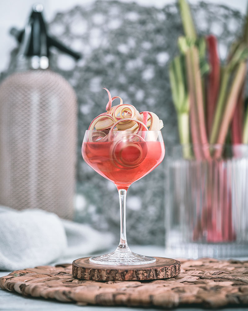 Cocktails with seasonal rhubarb